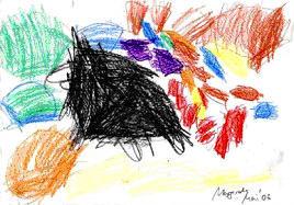 Gemaltes Bild von einem Kindergartenkind